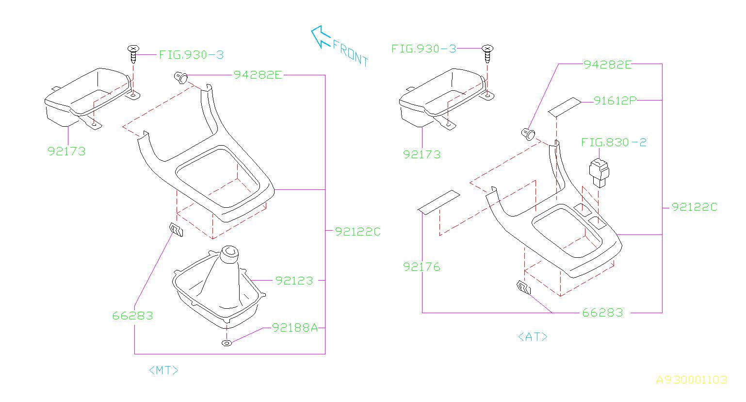 2018 Subaru Outback Clip  Console  Pedal  Trim